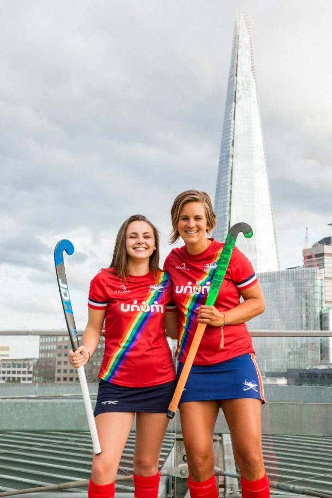 Bailey Aldridge (L) & Belinda Armstrong (R), London Royals Hockey Club -. Photo: Chris Mathison
